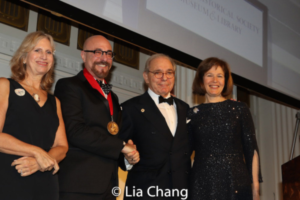 Louise Mirrer, President and CEO, New-York Historical Society, honoree Arthur A. Levine, Roger Hertog, Board Chair Emeritus New-York Historical Society, Pam Schafler, Chair, New-York Historical Societ