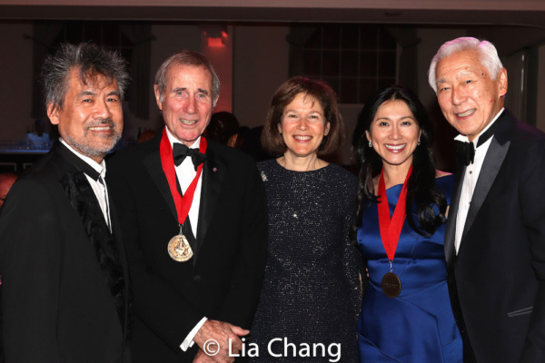 Playwright David Henry Hwang, honoree Jim Dale, Pam B. Schafler, Chair, New-York Historical Society, honoree Dr. H.M. Agnes Hsu-Tang and Oscar Tang