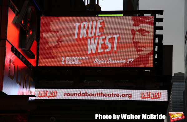 """Theatre Marquee for the Roundabout Theatre Company production of the Sam Shepard play """"True West"""" starring Paul Dano and Ethan Hawke at the American Airlines Theatre on November 20, 2018 in New York City."""