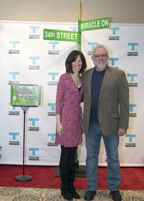 Director and Choreographer Linda Fortunato with actor Neil Friedman at Opening Night for Miracle on 34th Street at TATC