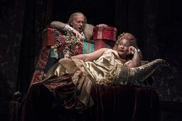 Larry Yando (Ebenezer Scrooge) and Jasmine Bracey (Ghost of Christmas Present)