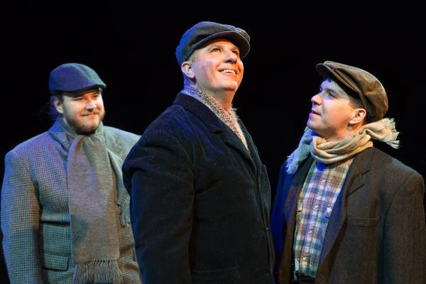 """(L to R)JARED JOHNSON (Ensemble), ED MEDINA (James O'Hanlon) and AARON MOHS-HALE (Ensemble) from the Lakewood Playhouse Production of """"YES, VIRGINIA, THERE IS A SANTA CLAUS."""""""