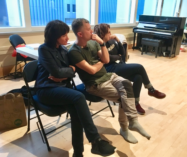 Heidi Rodewald, Kevin Newbury and Donna Di Novelli observe rehearsals. Photo by Cindy Sibilsky.
