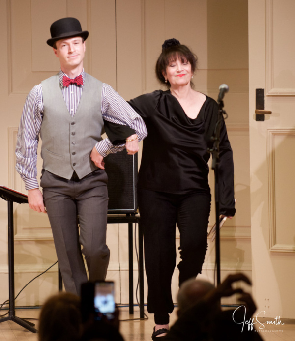 Cary Tedder shuffles on stage with Eileen Bluestone Sherman (Emmy Award-winning lyricist and co-Founder of the Indie Collaborative). The Bluestone Sisters - Eileen and Gail - together composed the two