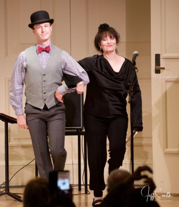 Cary Tedder shuffles on stage with Eileen Bluestone Sherman (Emmy Award-winning lyric Photo
