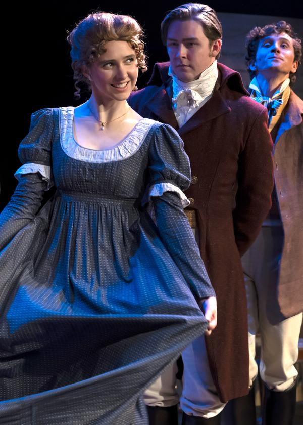 Megan McCarthy as Jane Fairfax, Gavin Cole as Frank Churchill, and Kristofer Buxton as Robert Martin
