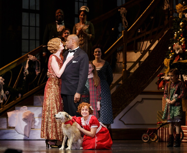Jessica Skerritt as Grace, Timothy McCuen Piggee as Oliver Warbucks, and Faith Young as Annie
