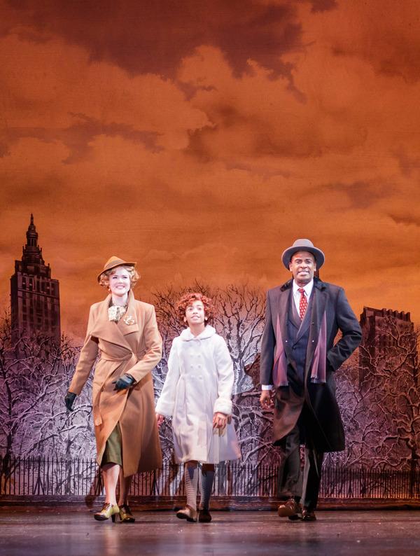 Jessica Skerritt as Grace, Visesia Fakatoufifita as Annie, and Timothy McCuen Piggee as Oliver Warbucks