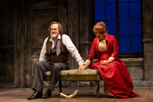 (L to R) Andrew Garman and Kellie Overbey in A Doll's House, Part 2 by Lucas Hnath at George Street Playhouse, November 27 thru December 27. Photo by T. Charles Erickson.