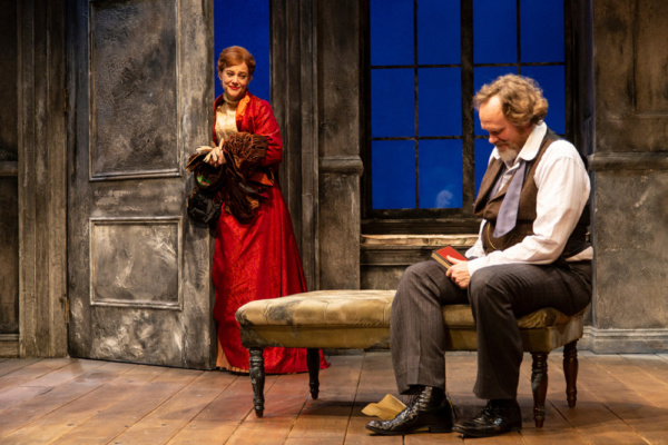 (L to R) Kellie Overbey and Andrew Garman in A Doll's House, Part 2 by Lucas Hnath at George Street Playhouse, November 27 thru December 27. Photo by T. Charles Erickson.