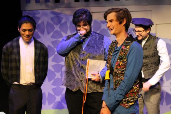 Dumain (Kelvin Morales), Longaville (John Cody Fasano), Costard (Cameron Rose) and Be Photo