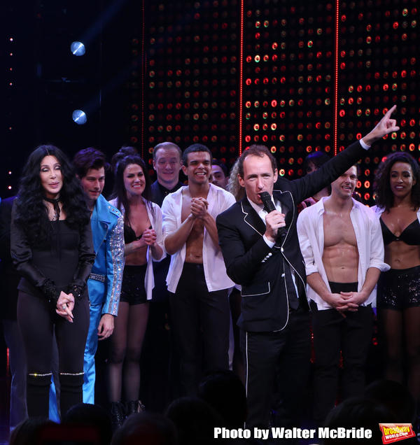 Cher and Jeffrey Seller with cast