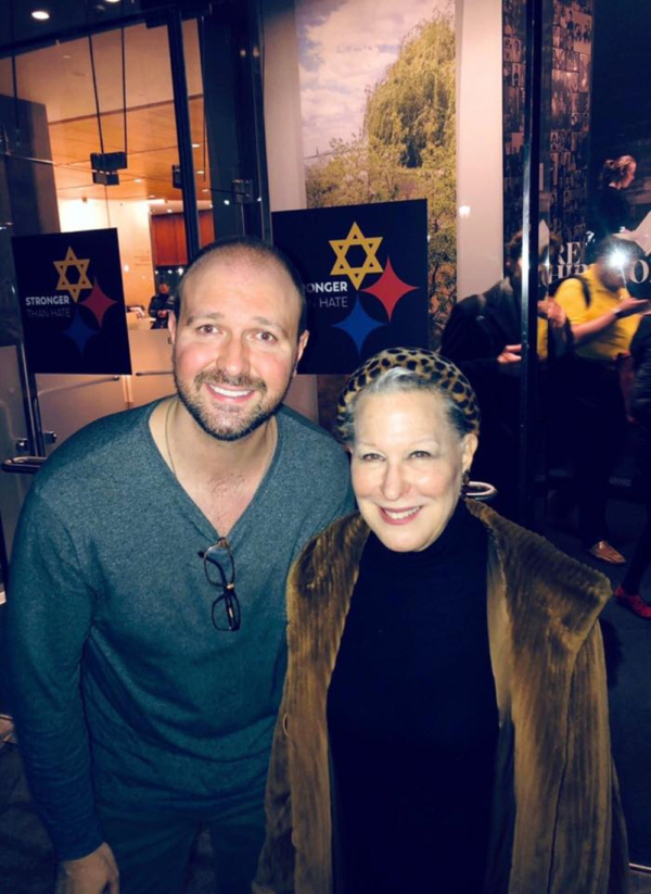 National Yiddish Theater Folksbiene's CEO and the show's executive producer Chris Massimine with Bette Midler.