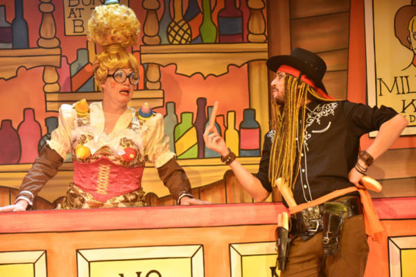 Andrew Pollard and Anthony Spargo in Robinson Crusoe, Greenwich Theatre, Photo credit Robert Day