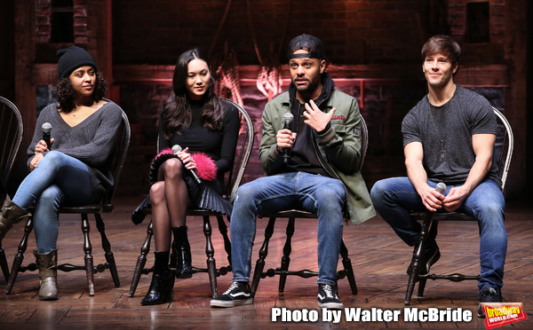 """Sabrina Imamura, Terrance Spencer and Thayne Jasperson during The Rockefeller Foundation and The Gilder Lehrman Institute of American History sponsored High School student #eduHam matinee performance of """"Hamilton"""" Q & A at the Richard Rodgers Theatre on D"""