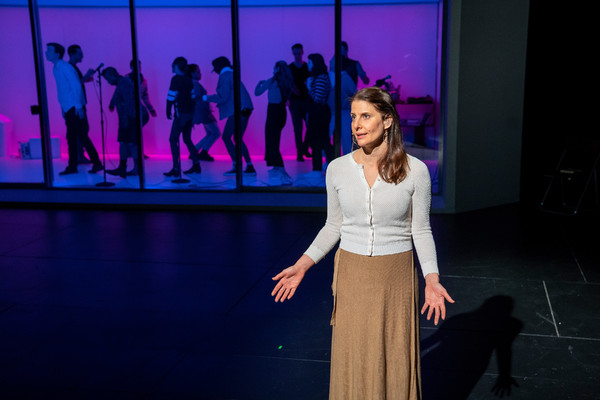 """Mia Barron- lead performer-in """"The White Album"""" by Joan Didion created by Lars Jan/ Early Morning Opera at the BAM Harvey Theater on November 28, 2018l, presented by BAM Next Wave Festival. Photo Credit: Stephanie Berger."""