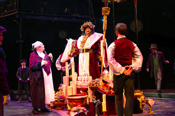 Peter S. Adams with David Coffee and the cast of A CHRISTMAS CAROL