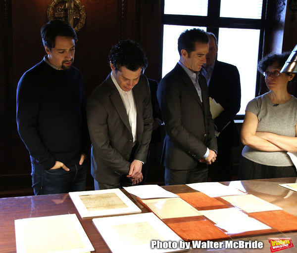 Lin-Manuel Miranda, Thomas Kail and Andy Blankenbuehler with researcher Julie Miller