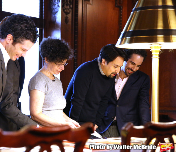 Thomas Kail, researcher Julie Miller, Lin-Manuel Miranda and Alex Lacamoire