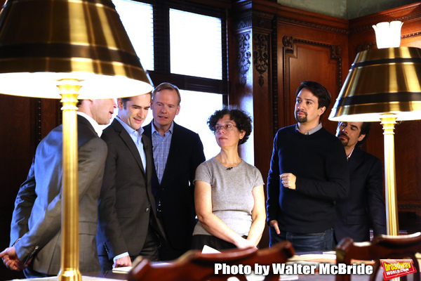 Thomas Kail, Andy Blankenbuehler, John Dickerson, researcher Julie Miller, Lin-Manuel Miranda and Alex Lacamoire