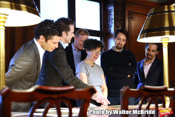 Thomas Kail, Andy Blankenbuehler, John Dickerson, researcher Julie Miller, Lin-Manuel Miranda and Alex Lacamoire
