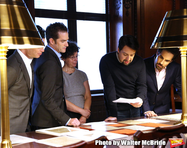 Thomas Kail, Andy Blankenbuehler, researcher Julie Miller, Lin-Manuel Miranda and Alex Lacamoire