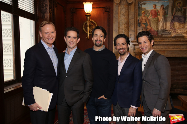 John Dickerson, from CBS Morning News interviews Andy Blankenbuehler, Lin-Manuel Miranda, Alex Lacamoire and Thomas Kail