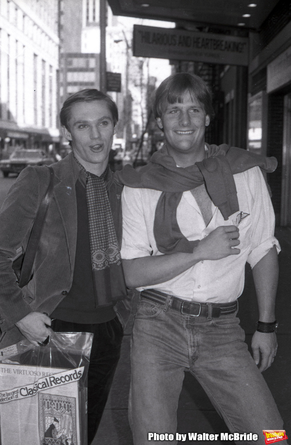 """Richard Thomas and Jeff Daniels after a performance in """"Fifth of July"""" on July 18, 1981 at The New Apollo Theatre in New York City."""