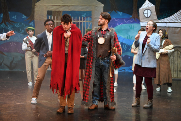 Ben Rose, Tom Whitelock, Susannah Austin and members of the company in Red Riding Hood vs The Wolf, Stantonbury Theatre, 2018-19