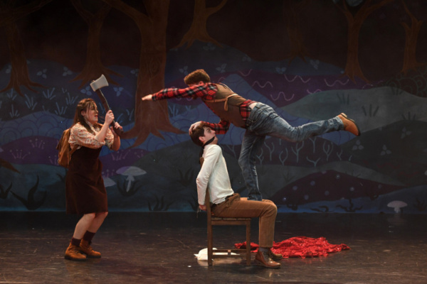 Claire Burns as Scarlett, Ben Rose as Ned and Tom Whitelock as Mayor Woodwood in Red  Photo