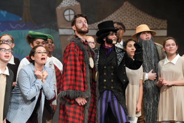 Susannah Austin, Tom Whitelock, Kerry Frampton and members of the company in Red Riding Hood vs The Wolf, Stantonbury Theatre, 2018-19