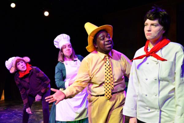 Hannah Fogler as Curious George, Karen Shantz as Netti, Deion Dawodu as Man in the Yellow Hat, and Molly Mayne as Chef Pisghetti