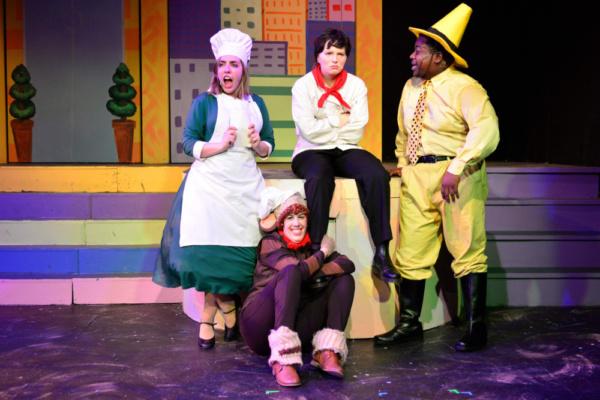 Molly Mayne as Chef Pisghetti, Deion Dawodu as Man in the Yellow Hat, Hannah Fogler as Curious George, and Karen Shantz as Netti