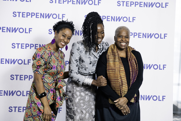 Danai Gurira with Steppenwolf  cast members from her play Familiar, Steppenwolf ensemble member Celeste M. Cooper and Cheryl Lynn Bruce