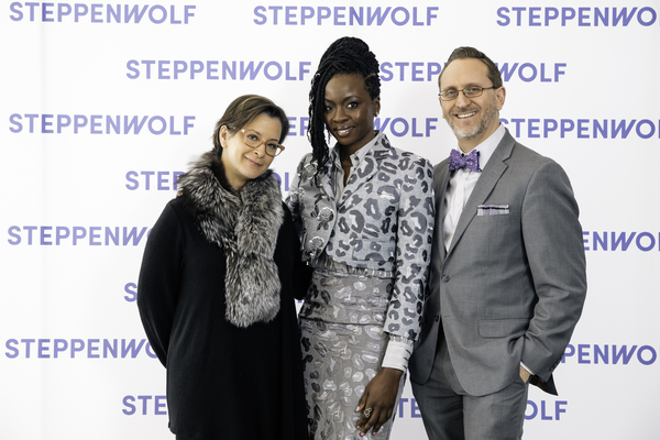 Steppenwolf Artistic Director Anna D. Shapiro, 10th  Anniversary Honoree Danai Gurira, Steppenwolf Executive Director David Schmitz