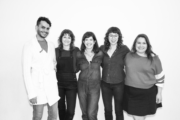 Omer Abbas Salem (Val), Amy Staats (Playwright, Eddie), Megan Hill (Dave), Adina Verson (Al) and Vanessa Aspillaga (MTV DJ)