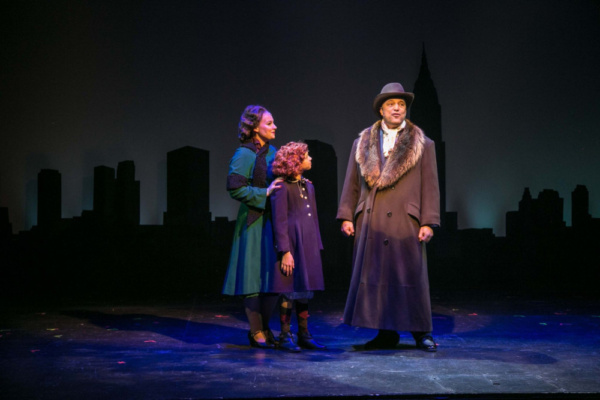 Sara Winant as Grace Farrell, Olivia Jason as Annie, and Tony Republicano as Oliver Warbucks in NYC. ANNIE plays at the Downtown Cabaret Theatre in Bridgeport, CT through December 30th.