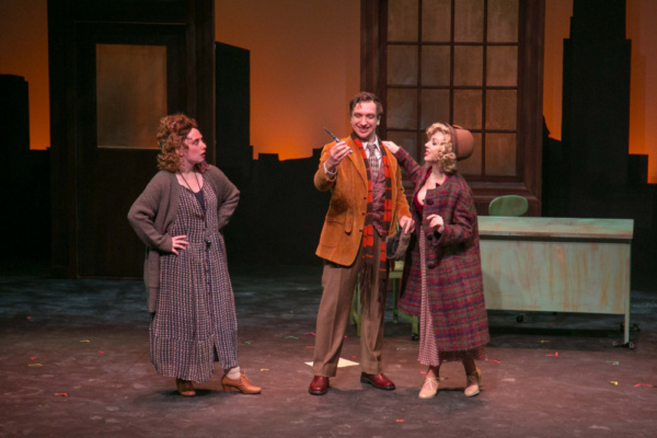 Corrinne Marshall as Miss Hannigan,  Paul Goodman as Rooster and Mikayla Petrilla as Lily St. Regis in ANNIE, which plays at the Downtown Cabaret Theatre in Bridgeport, CT through December 30th.