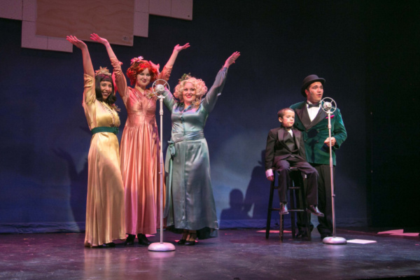 Fior Rodriguez, Katie Brunetto, and Fiona Honohan as the Boylan Sisters opposite Zach Fontanez as Bert Healy and Carlo Desy as Wacky in ANNIE at the Downtown Cabaret Theatre in Bridgeport, CT, running