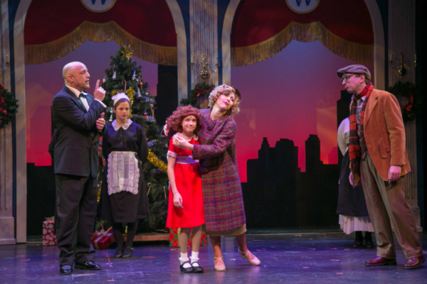 Olivia Janson as Annie, Tony Republicano as Oliver Warbucks, Paul Goodman as Rooster and Mikayla Petrilla as Lily St. Regis in ANNIE, which plays at the Downtown Cabaret Theatre in Bridgeport, CT thro