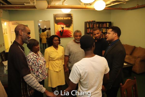 Brian D. Coats, Elain Graham, Brittany Bellizeare, Harvy Blanks, Blake Morris, Brandon J. Dirden and Charlie Hudson III in the pre-show prayer circle