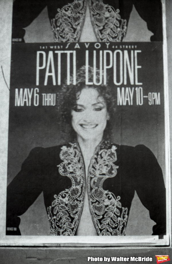 Patti LuPone poster billboard  for 'Patti LuPone at the Savoy May 6 - May 10 on May 1, 1981' in Times Square in New York City.
