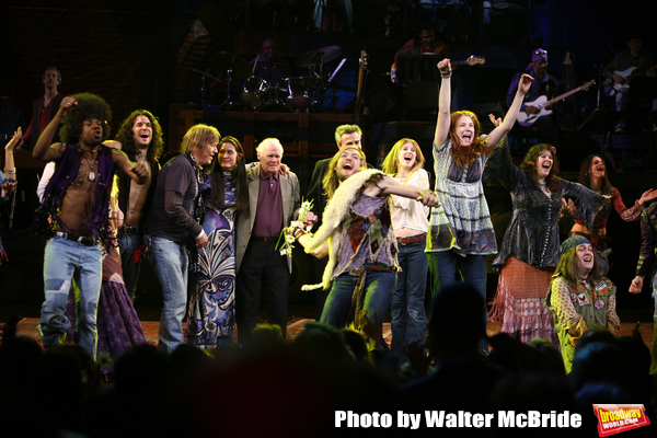 featured cast  members Megan Lawrence, Darius Nichols, Kacie Sheik, Sasha Allen, Gavin Creel, Will Swenson, Caissie Levy & Bryce Ryness with James Rado, Diane Paulus & Galt MacDermot    during the Opening Night Performance Curtain Call for  HAIR: THE AMER