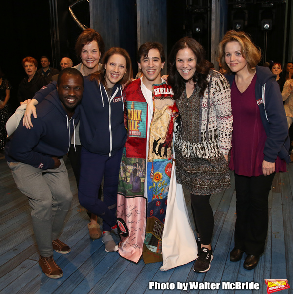 Jess Leprotto with Joshua Henry, Margaret Colin, Jessie Mueller, Lindsay Mendez and Renee Fleming during the Actors' Equity Broadway Opening Night Legacy Robe Ceremony honoring Jess LeProtto for 'Carousel' at the Imperial Theatre on April 12, 2018 in New