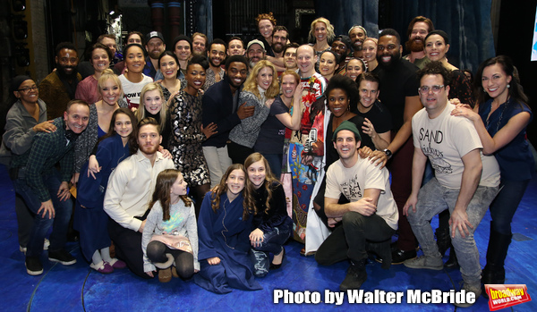 Jeremy Davis with the cast during the Actors' Equity Opening Night Legacy Robe Ceremony honoring Jeremy Davis for 'Frozen' at the St. James Theatre on March 22, 2018 in New York City.