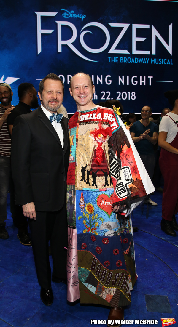 Rob Ashford with Jeremy Davis  during the Actors' Equity Opening Night Legacy Robe Ceremony honoring Jeremy Davis for 'Frozen' at the St. James Theatre on March 22, 2018 in New York City.