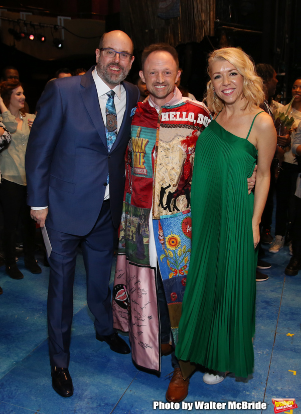 "Christopher Ashley, Matt Allen and Kelly Devine during the Actors' Equity Legacy Robe Ceremony  honoring Matt Allen for ""Escape To Margaritaville"" at The Marquis Theatre on March 15, 2018 in New York City."