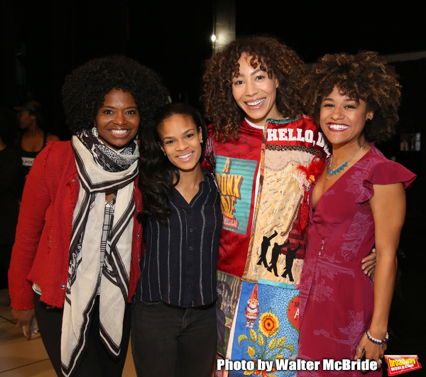 Afra Hines with LaChanze, Storm Lever and Ariana DeBose during the Opening Night Actors' Equity Legacy Robe Ceremony honoring  Afra Hines for 'Summer:The Donna Summer Musical at Lunt-Fontanne Theatre on April 23, 2018 in New York City.