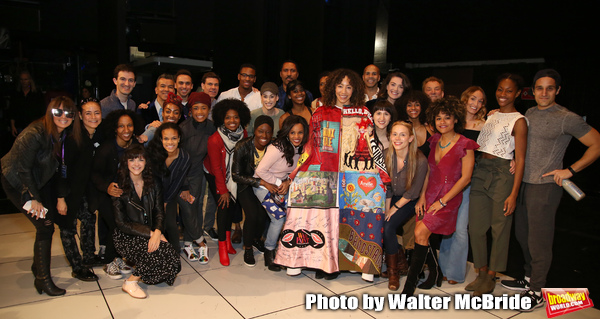 Afra Hines with the cast during the Opening Night Actors' Equity Legacy Robe Ceremony honoring  Afra Hines for 'Summer:The Donna Summer Musical at Lunt-Fontanne Theatre on April 23, 2018 in New York City.