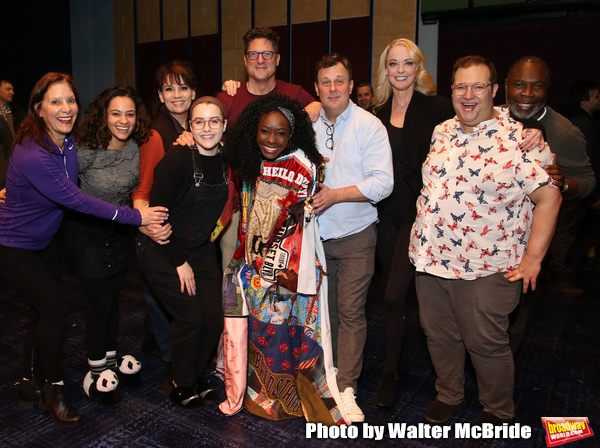 "Courtenay Collins, Isabelle McCalla, Beth Leavel, Caitlin Kinnunen, Christopher Sieber, Vasthy Mompoint, Brooks Ashmanskas, Angie Schworer, Josh Lamon and Michael Potts  During the Actors' Equity Opening Night Legacy Robe honoring Vasthy Mompoint for ""The"